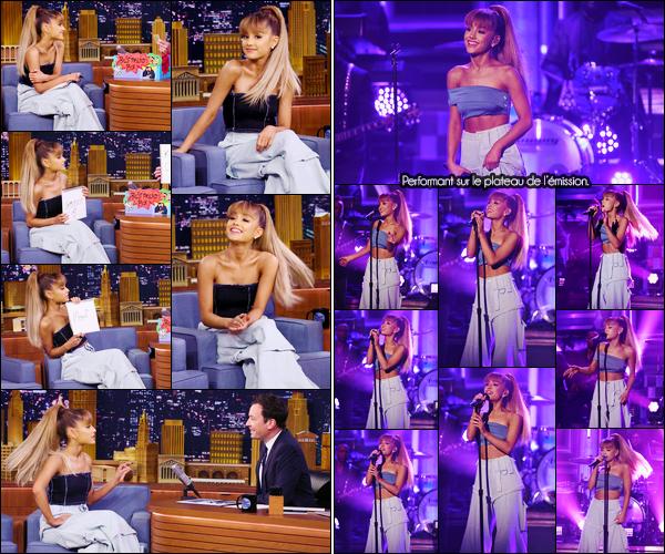 """- """"─-09/09/16-•"""": Ariana Grande était présente à l'émission :« The Tonight Show Starring Jimmy Fallon », à N-Y. C'est ainsi sur le plateau de l'émission que nous retrouvons Ari tout sourire qui s'est d'ailleurs prêté à plusieurs jeux. Elle a aussi chanté ! -"""