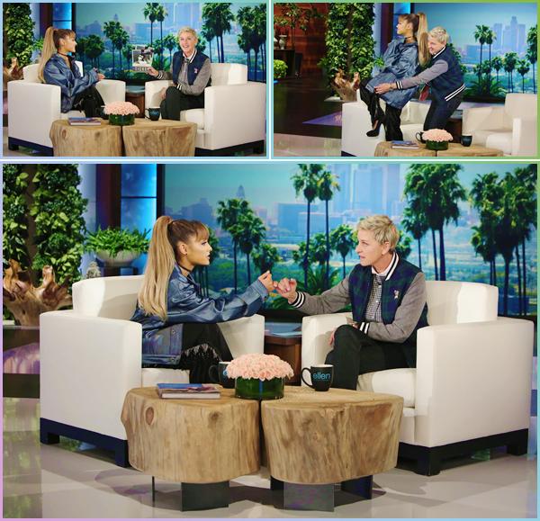 """- """"─-14/09/16-•"""": Ariana Grande était sur le plateau télévisé du« The Ellen Show » se trouvant situé à Burbank. Ari enchaîne les talk-show et émissions de radio depuis l'annonce de sa tournée. Elle a performé un mash-up de Into You/Side To Side ! -"""