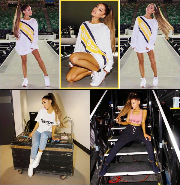"""- """"•-20/09/17-─"""": Ariana Grande était au lancement de sa collection pour « Reebok » qui avait lieu à Hong Kong. Accompagnée de ses danseurs la jolie chanteuse s'est envolée pour la Chine, dans le but de dévoiler sa collection pour la marque Reebok. -"""
