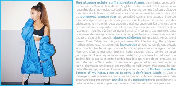 •Le point sur la tragédie lors du concert d'Ariana Grande,qui se déroulait dans Manchester...