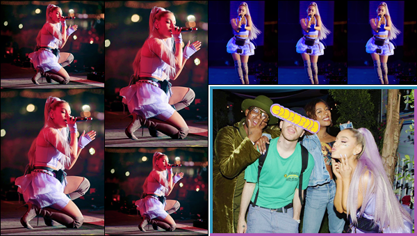 - ''•-20/04/18-' : Ariana Grande se produisait sur la scène du : « Coachella Valley Music Festival », à Palm Springs. Lors de sa prestation sur scène, Ariana Grande a performé son tout nouveau single, ainsi que la chanson : « Sexual Healing » avec Kygo ! -