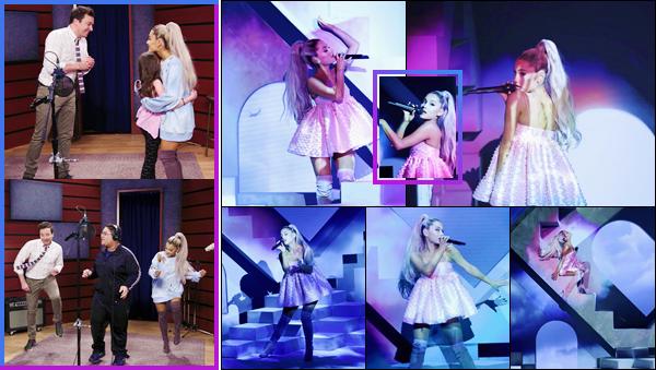 - ''•-01/05/18-' : Ariana Grande co-animait le talk-show du : « Tonight Show Starring Jimmy Fallon », à New York. Ariana Grande a dévoilé, lors de l'émission, que son tout prochain album s'intitulera « Sweetener » et sortira le 20 juillet prochain. Hâte ! -