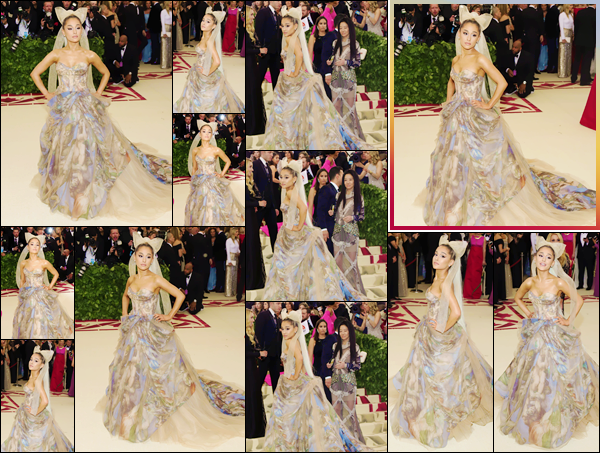 - ''•-07/05/18-' : Ariana Grande assistait au « MET Gala 2018 », ayant lieu au Metropolitan Museum of Art de NY. Ariana Grande assistait à son tout premier « MET Gala » dans une robe de Vera Wang représentant la scène du Jugement Dernier. Top ! -