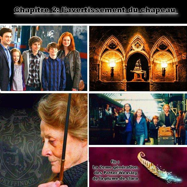 fic : la 2eme génération des Potter/weasley, chapitre 2 : l'avertissement du chapeau :=)
