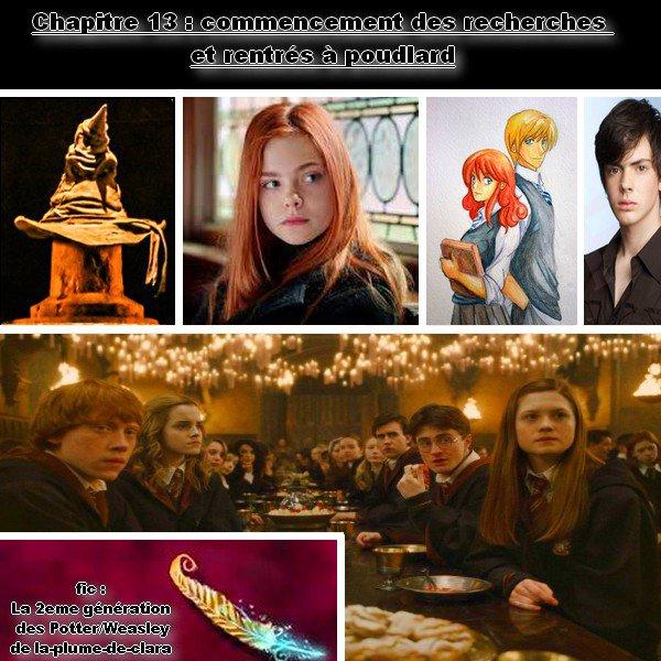 fic : la 2eme génération des Potter/weasley, Chapitre 13 : commencement des recherches et rentrés à poudlard  :=)