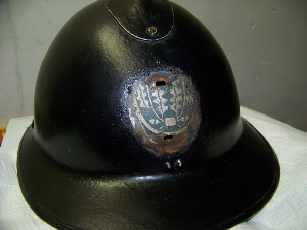 Belgian Model 31 Adrian helmet re-used by Gendarmerie