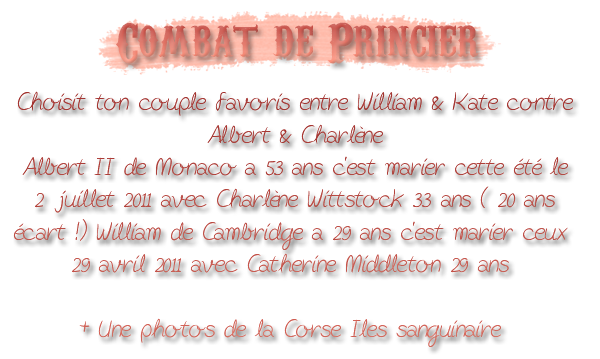 Combat // Albert & Charlène V.S William & Kate // + Photo des ile Sanguinaire