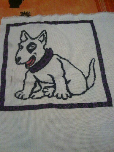 bull terrier en point de croix blog dorissepassions. Black Bedroom Furniture Sets. Home Design Ideas