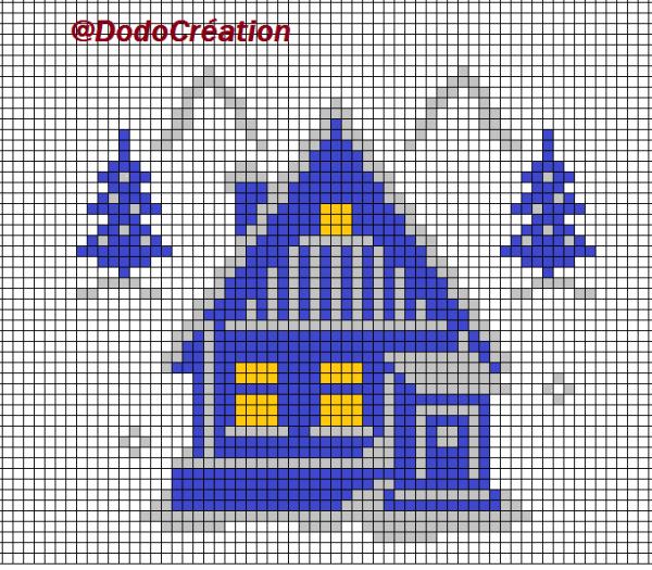 Grille la maison bleue sous la neige blog dorissepassions - Maison point de croix ...
