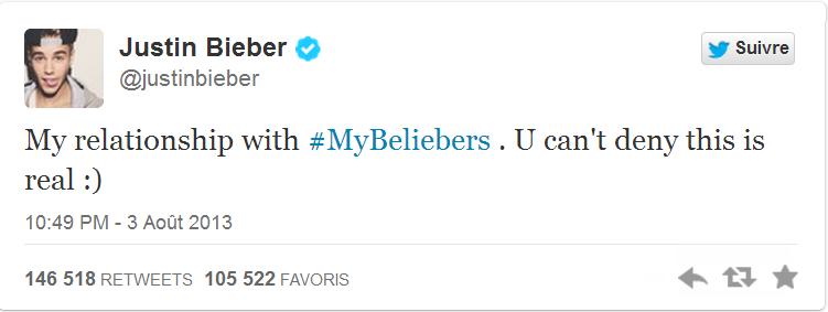 """Justin Bieber : """"Ma relation avec les Beliebers, Vous ne pouvez pas le nier, elle est sincère"""""""