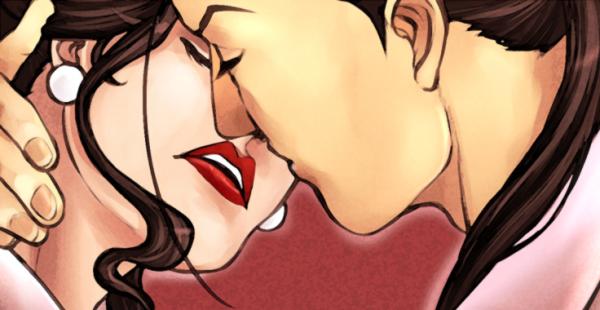 On écrit « je t' aime »  sur bouche, par les bisous qui la touchent ..