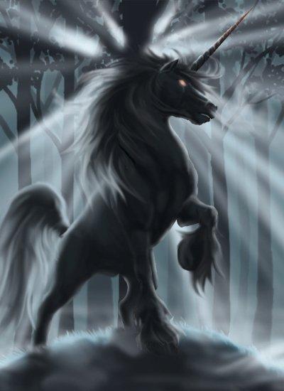 La licorne noir aux yeux rouge