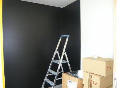 Peinture blanc et noir du bureau !!! la construction de notre maison