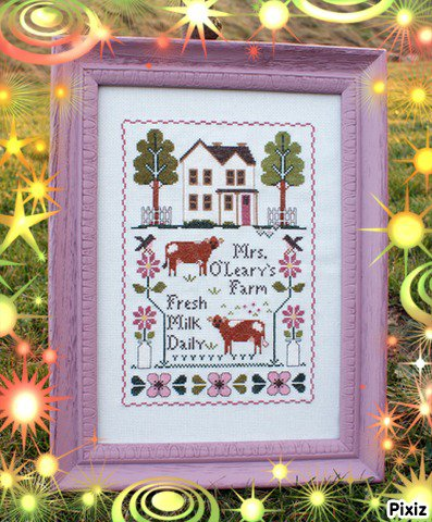 "modèle Little House Needleworks ""Mrs. O'Leary's Dairy Farm"""