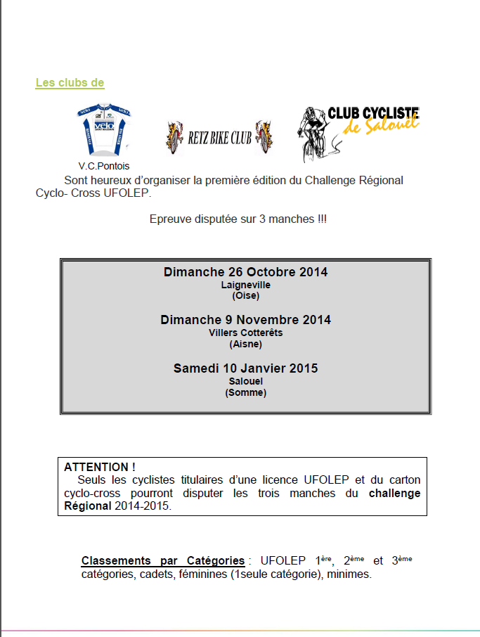 Challenge Régional Cyclocross Ufolep