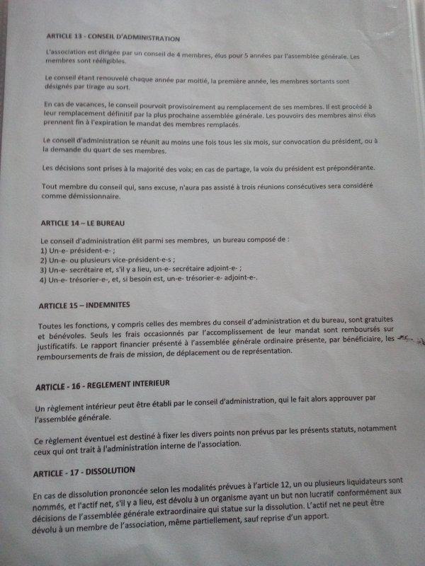 statuts de l'associations