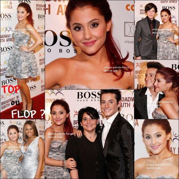 """Ariana était au 3e concert annuel """"Broadway"""" en Amérique du Sud avec sa mère & son frère Frankie le 4 Octobre 2010. Elle était vêtu, comme tu peux le voir, d'une robe grise & des chaussures kaki à talons, avec sa coiffure préfèrée :P. Elle reste tout de même très belle malgré la simplicité de ses vêtements/maquillage. Ton avis ?  Ce n'est pas tout, Ariana en a aussi profité pour chanter une chanson nommée 'The Beauty Within You' écrite par Desmond Child pour elle. Tu peux découvrir la vidéo grâce au lien juste en dessous. Qu'en penses-tu ?"""
