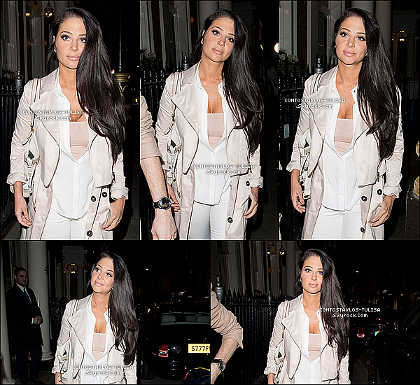 "02.04.17  - La bombe Tulisa quittant le ""Mayfair's The Arts Club"" à Londres avec Gareth."