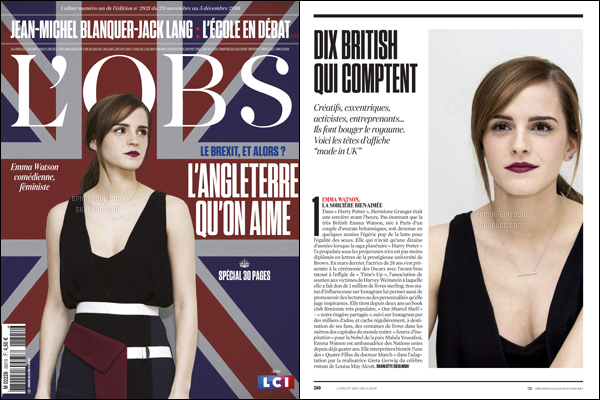 .Miss Emma Watson faisant la couverture de l'OBS pour le mois de Novembre 2018.  .