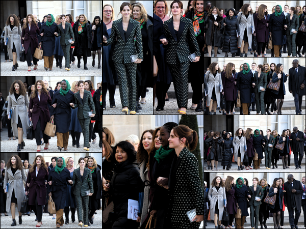 .19/02/19 - Emma Watson est à Paris pour le premier conseil consultatif sur l'égalité entre les femmes & les hommes. !! Emma a donc été reçu à l'Élysée par le président français Emmanuel Macron et sa femme Brigitte pour son combat. Un jolie top pour E. .