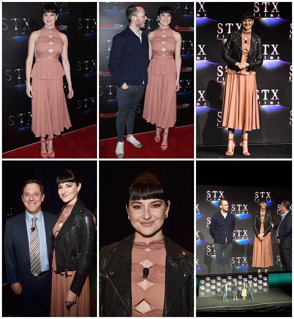 24 Avril 2018 - Shailene Woodley était au CinemaCon 2018 pour parler du film Adrift, pendant la présentation STX Films' à Las Vegas