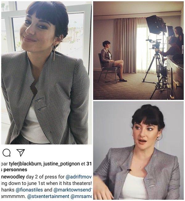 """19 Mai 2018 - Deuxième Jour de la promotion de son nouveau film """"Adrift"""". Shailene a fait plusieurs interviews."""
