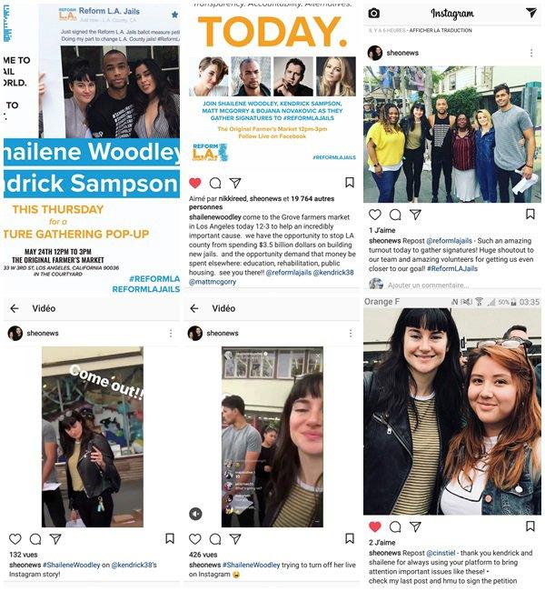 24 Mai 2018 - Shailene et @kendrick38 ont essayer de récupérer des signatures pour  #ReformLAJails