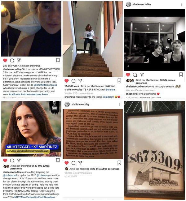 Du 4 Octobre au 1er Novembre 2018, Shailene a posté sur son Instagram