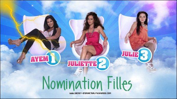 Les nominations filles ont eu lieux aujourd'hui. Les nominés de la semaine sont : Ayem, Juliette et Julie.