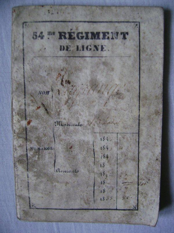 Livret militaire 1848