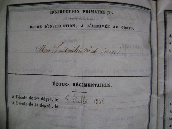 Livret militaire 1848 suite