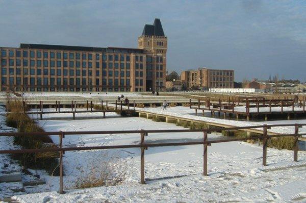 Les jardins d'eau glacés d'Euratechnologies en hiver