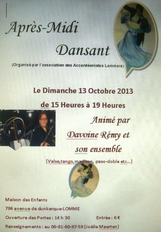 Dimanche 13 octobre, après-midi dansant des accordéonistes lommois