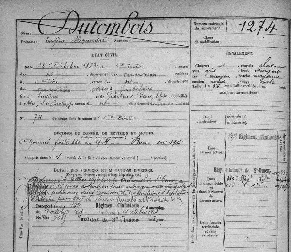 Il s'appelait Dutombois et il est mort à la Grande Guerre !