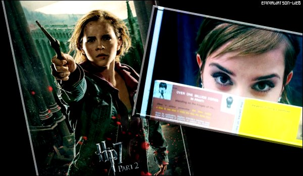 """11/06/2011 - Pour commencer retrouvez une photo d'Emma postée sur Twitter par Logan Lerman ainsi qu'une nouvelle affiche promotionnelle pour Harry Potter. Vous pouvez aussi retrouver les scans du magazine """"Style"""". Et pour finir voilà les photos de l'after party des MTV Movie Awards 2011. Emma a posé avec plusieurs stars comme Emma Stone, Cameron Diaz ..."""