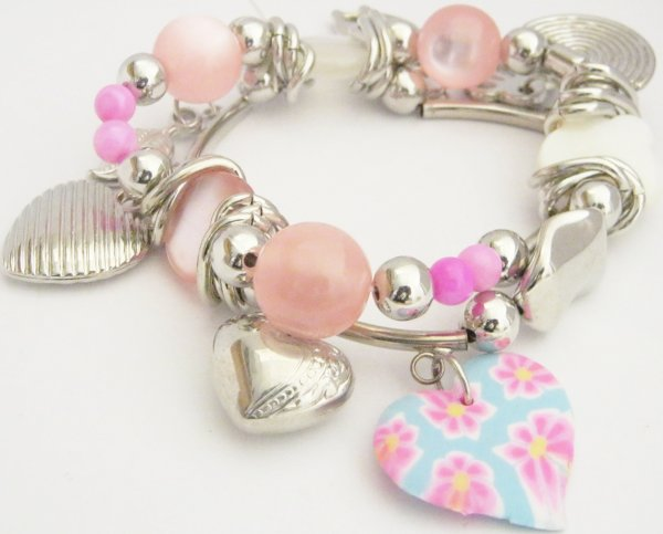 Bracelet femmes rose argenté