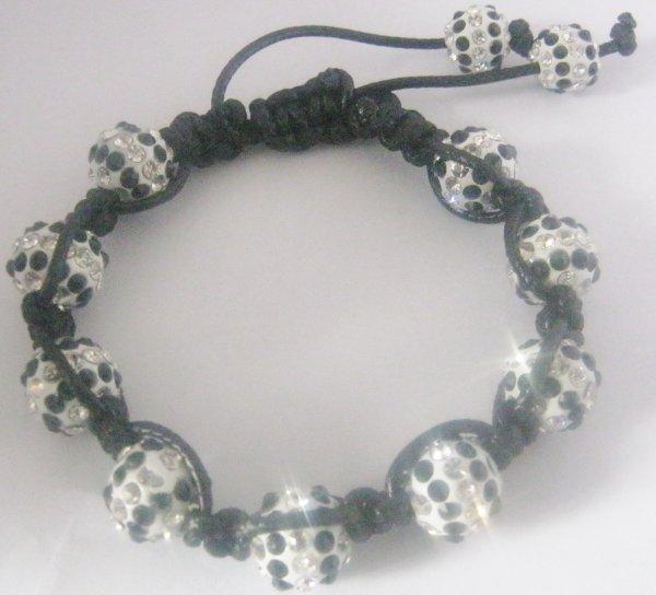 Bracelet shamballa mixte blanc et noir