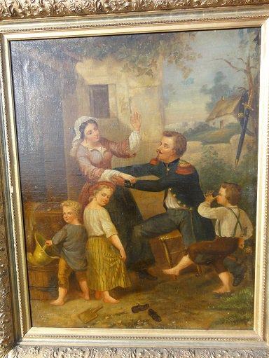 lithographie d'un sapeur pompier en compagnie de sa famille , signée H. Dupray (en dessous ,  tableau qui a servit de modèle , propriété de Mr Van Overbeke)