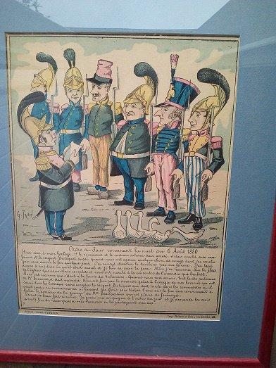 """lithographie signée Gustave Frison , les pompiers """" Ordre du jour """""""
