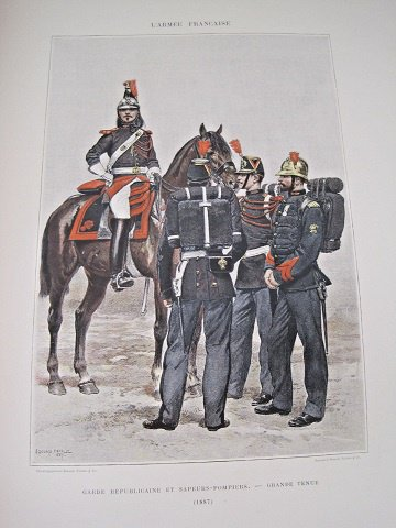 gravure d'Edouard Détaille , armée française , 1887, garde républicaine et sapeurs pompiers