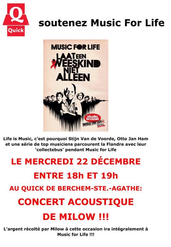 Music For Life Mercredi 22 décembre !