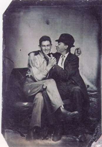 American Tintypes : ca. 1890, [portrait of two gentlemen entangled]