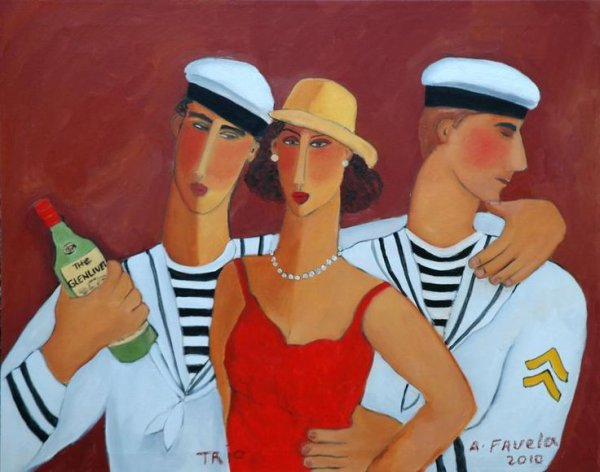 Trio by Mexican gay artist Abelardo Favela at the gay-owned Galeria Contempo, one of the newer Puerto Vallarta art galleries