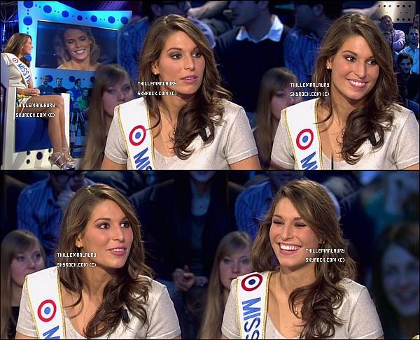 """.     11/12/10 : Laury Thilleman et Sylvie Tellier dans """"On n'est pas couché"""" sur France 2.."""