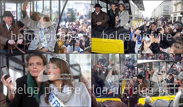.     18/12/10 : Laury de retour à Brest, traversant la Rue de Siam puis accueillit à la mairie de Brest par le maire..