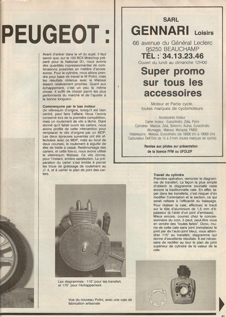 Préparation Peugeot G1 1988