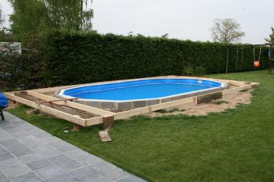 D but terrasse construction piscine gre for Piscine hors sol semi enterree acier