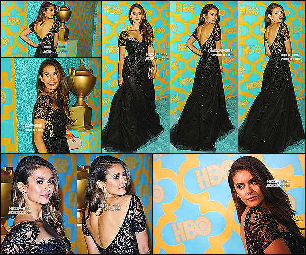10/01/15 - Nina Dobrev était présente au HBO's Post 2015 Golden Globe Awards Party à Los Angeles Rien a dire sur sa tenue, je la trouve vraiment magnifique dans cette robe noir - sa coiffure est impeccable,son make up est sublime. Donne ton avis