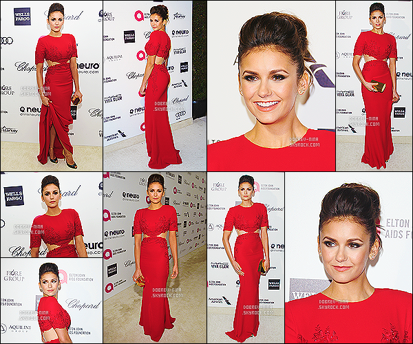 22/02/2015 - Nina était au 23rd Annual Elton John AIDS Foundation Academy Awards Viewing Party - à LA. Dans toute sa splendeur, N. portait une robe de chez Reem Acra, des chaussures Loutoutin. Je la trouve vraiment ravissante, la coiffure est top.