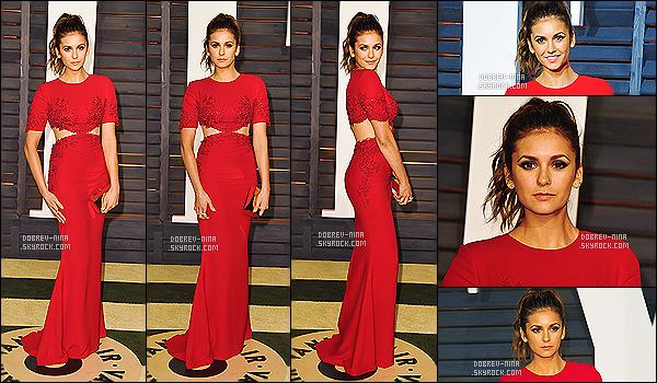 22/02/2015 - Nina était présente à l'after party organisé par « Vanity Fair » - à Los Angeles. Nina était vraiment sublime. Elle n'a pas changer de tenue, toujours sa belle robe rouge elle a cependant changer de coiffure. C'est vraiment un top